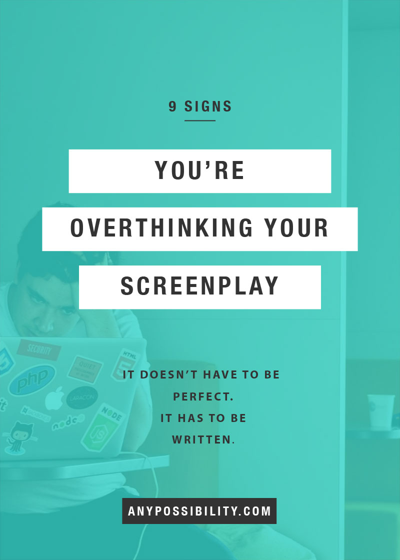 "Overthinking your screenplay will kill your creativity. Screenplay writing is more than screenplay format. It's more than the ""how-to."" It's about trusting your instinct to tell a story instead of second guessing yourself. Get your script written by being honest about what's holding you back."