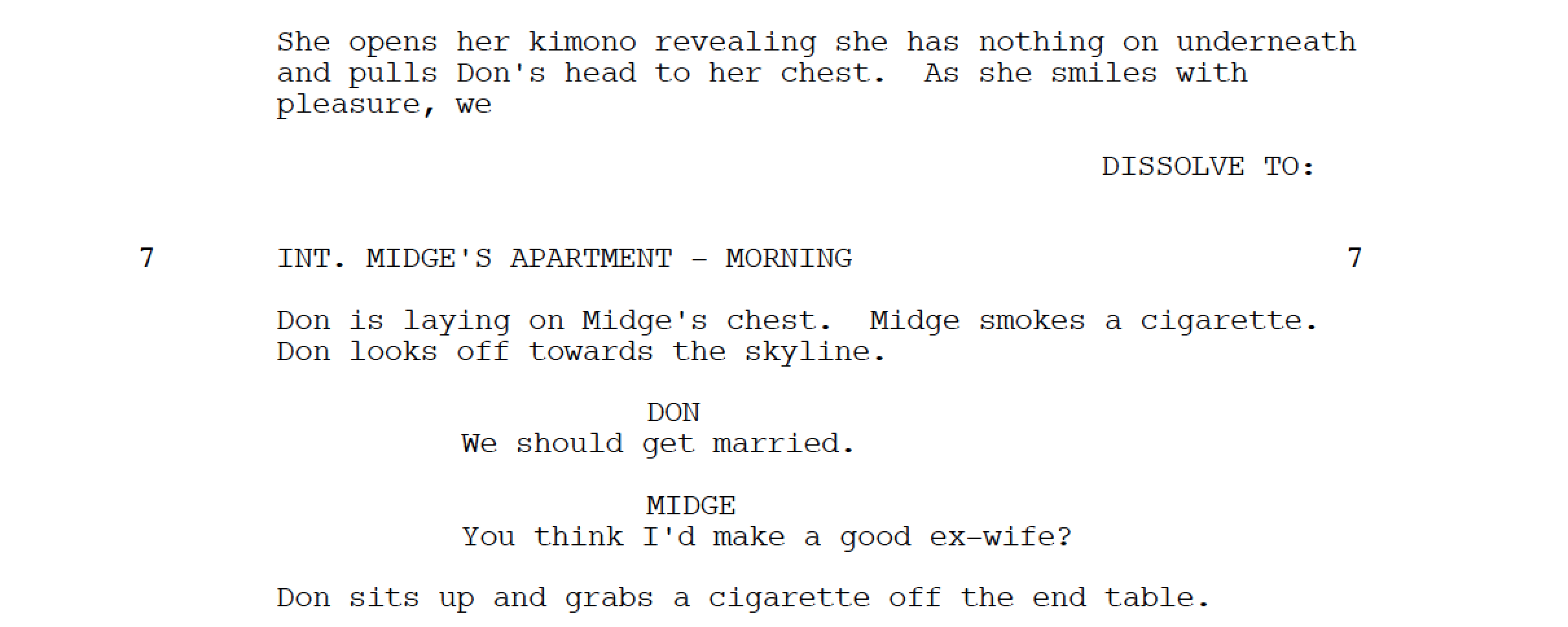 Mad Men Sex Scene Screenplay Example